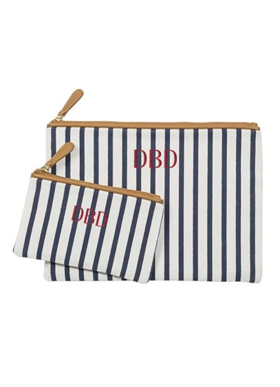 Personalized Striped Cosmetic Bag Set - Wedding Gifts & Decorations