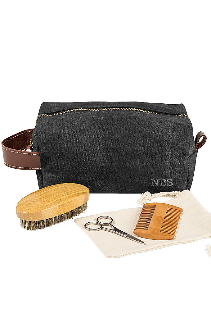 Personalized Dopp Kit with Beard Grooming Set - The dopp kit and beard grooming set is