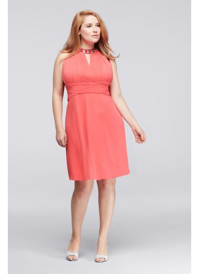 Above The Knee Plus Size Dress With Halter Neck Davids Bridal