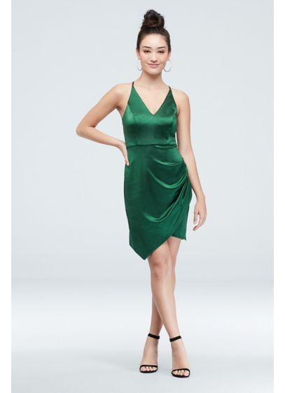 Satin Strappy V-Neck Dress with Tulip Skirt - You'll feel like a rockstar in this shiny