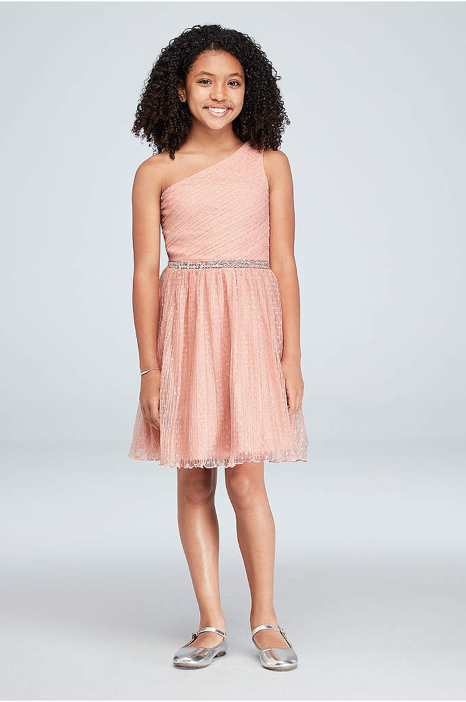 Girls Glitter Mesh One-Shoulder Short Dress - Sparkly glitter dots, skinny accordion pleats, and a