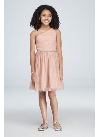 Tea Length Pink Soft Flowy Schless Bridesmaid Dress