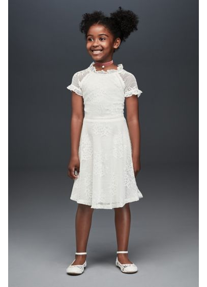 Floral Lace High Neck A-Line Flower Girl Dress - Both cute and undeniably cool, this floral lace
