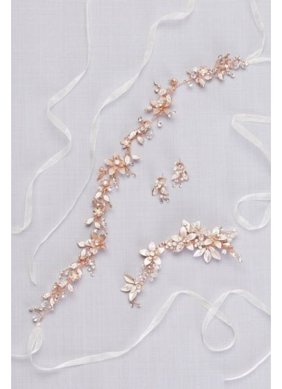 David's Bridal Ivory (Crystal Floral Wired Sash)