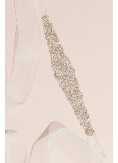 Marquise and Princess Crystal Clusters Belt - A transparent grosgrain belt supports an ornate pattern