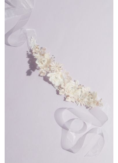 Allover 3D Floral Sash with Crystals - Wedding Accessories