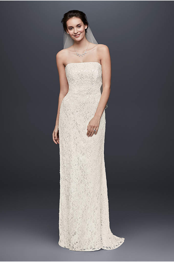 Allover Beaded Lace Sheath Gown with Empire Waist - Featuring a pearl-trimmed empire waist and allover pearl