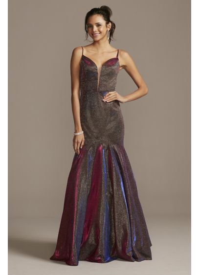 Plunging-V Iridescent Metallic Trumpet Dress - Equal parts glamorous and rock and roll, this