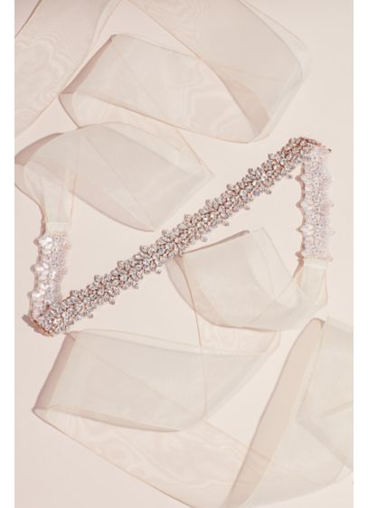 Extra Length Jeweled Organza Sash - This extra-length organza ribbon sash, encrusted with pear,