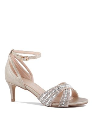 Pink Paradox Grey;Ivory Heeled Sandals (Crisscross Crystal Ankle-Strap Low-Heel Sandals)