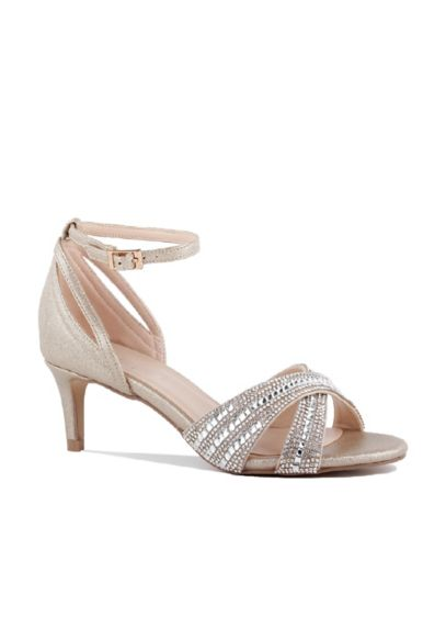 Pink Paradox Grey (Crisscross Crystal Ankle-Strap Low-Heel Sandals)