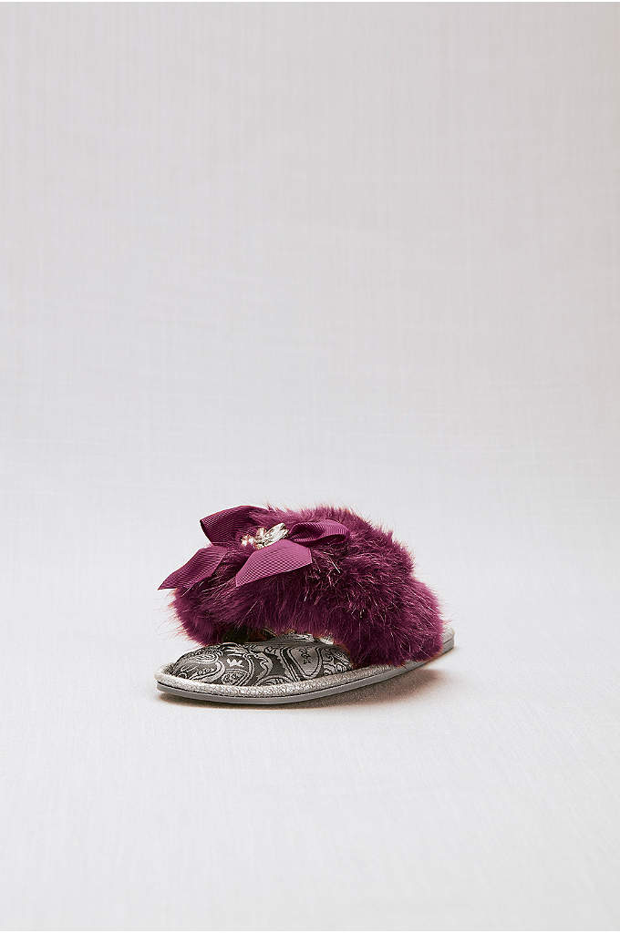 Embellished Faux-Fur Thong Slippers with Bow - These bridal slippers will keep your toes toasty
