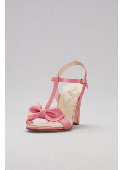 Touch of Nina Pink (Satin T-Strap Block Heel Sandals with Bow)