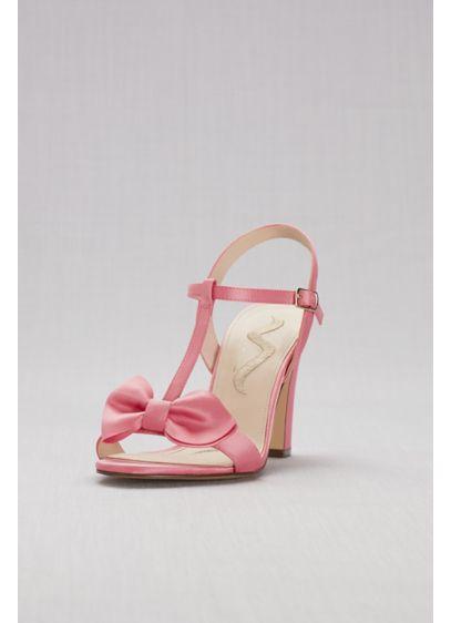 Nina Pink (Satin T-Strap Block Heel Sandals with Bow)