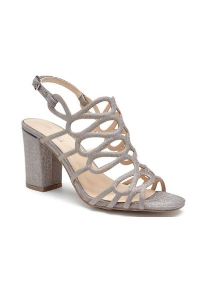 Pink Paradox Grey (Strappy Glitter Block Heel Sandals)