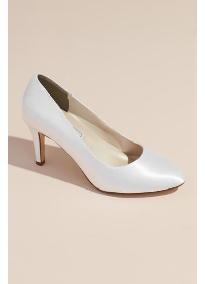 Dyeable Satin Almond Toe Pumps - An always classic mid-heel style, ready to be