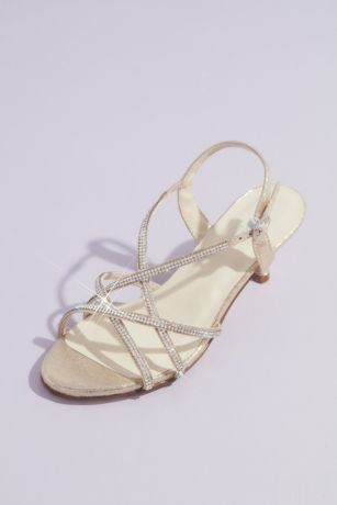Touch Ups Grey;Ivory Heeled Sandals (Sansa Metallic Kitten Heel Sandals with Crystals)
