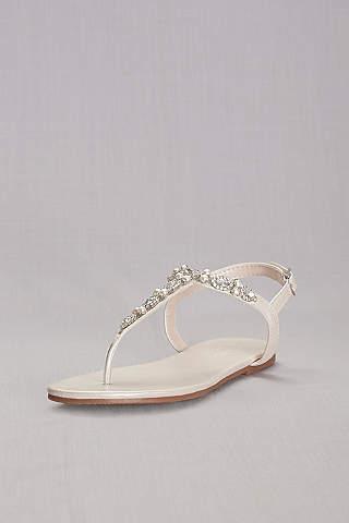 Sandalias de Perlas y Cristales de Cinta en T