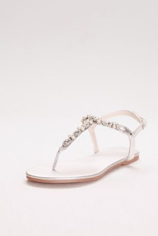 David's Bridal Grey;Ivory Flat Sandals (Pearl and Crystal T-Strap Sandals)