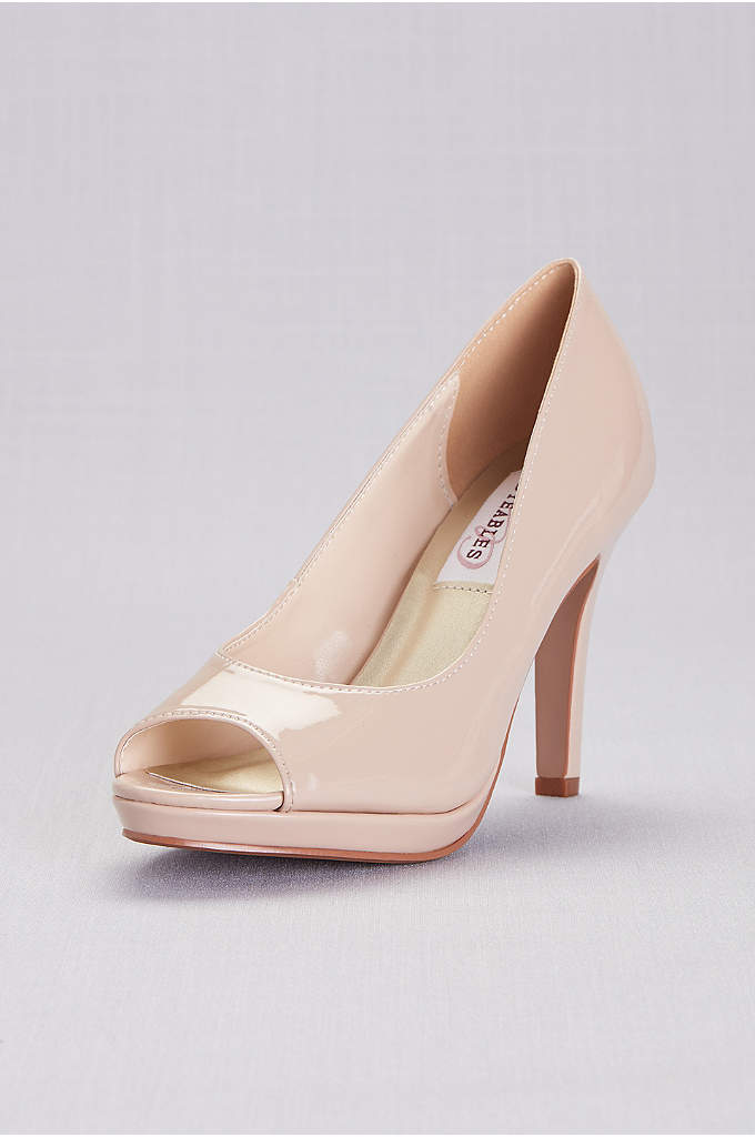 Patent Peep Toe Platform Pumps - A classic peep-toe pair in high-shine patent. By