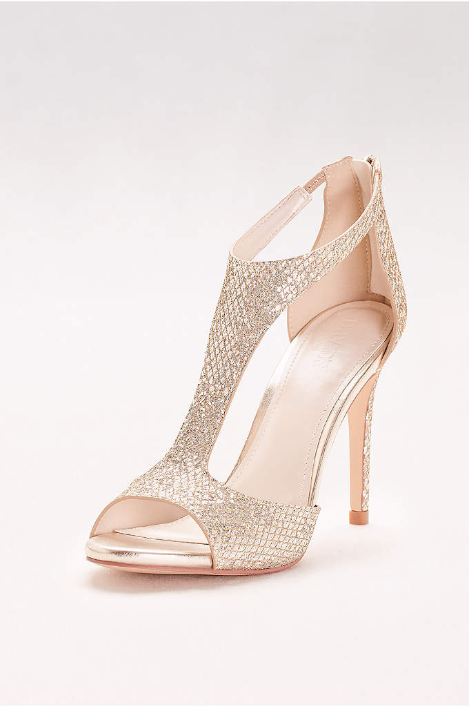 Glitter Fabric T-Strap Heels - Sparkling with a glittery gold print, these stiletto