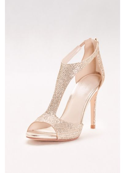 David's Bridal Yellow (Glitter Fabric T-Strap Heels)