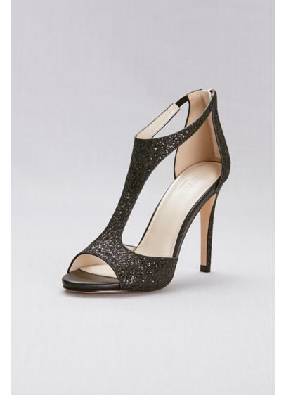 David's Bridal Black (T-Strap Heels with Glitter Fabric)