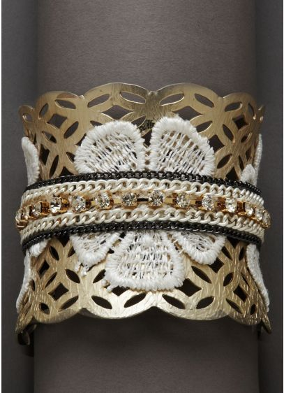 Mixed Media Applique Cuff - Wedding Accessories