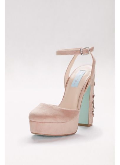 Blue By Betsey Johnson Pink (Round-Toe Velvet Platform Heels with Beaded Heel)