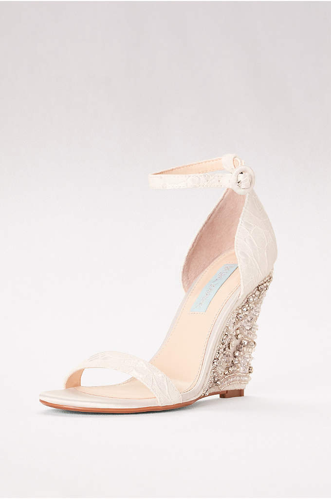 High Heel Embellished Wedges with Ankle Strap - Take your outfit to new heights. This eye-catching