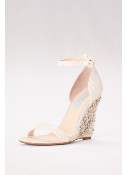 Blue By Betsey Johnson Ivory (High Heel Embellished Wedges with Ankle Strap)