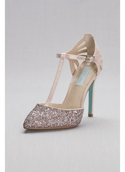 Blue By Betsey Johnson Grey (Glitter and Metallic T-Strap Pointed-Toe Pumps)