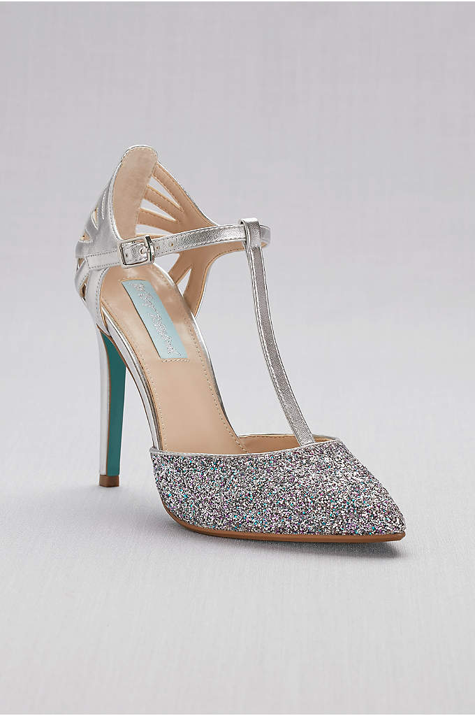 Glitter and Metallic T-Strap Pointed-Toe Pumps - Your toes will be twinkling in these gorgeous,
