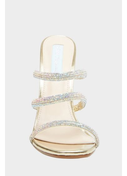 Metallic Crystal Strap High Heel Slide Sandals - A shoe with major wow-factor, this pair of