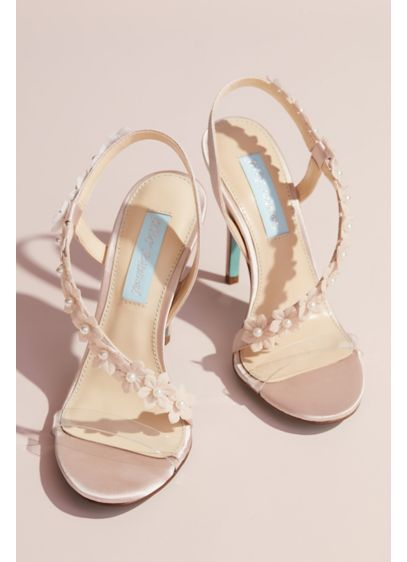 Floral Applique Cross-Strap Slingback Heels - Pearl-centered floral appliques bloom on the asymmetrical strap