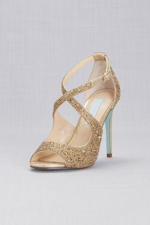 Blue By Betsey Johnson Ivory;Yellow Heeled Sandals (Jeweled Cross-Strap Peep-Toe Stiletto Heels)