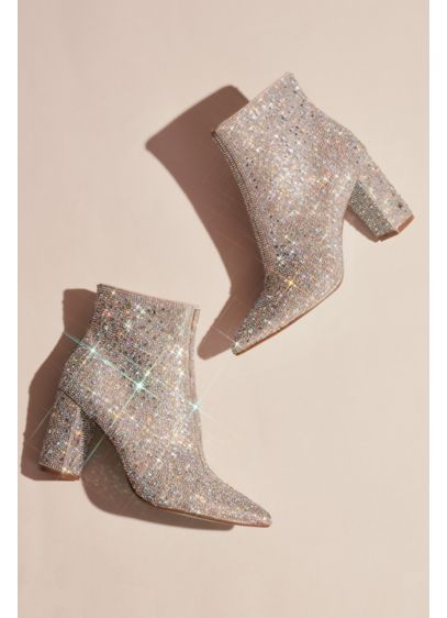 Blue By Betsey Johnson Grey (Rhinestone Encrusted Heeled Ankle Booties)
