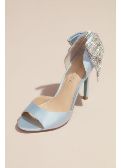 Betsey Johnson x DB Blue (Satin Peep Toe Stiletto Pumps with Sequin Bow)