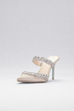Blue By Betsey Johnson Beige Heeled Sandals (Crystal Embellished Pointed Toe Mules)