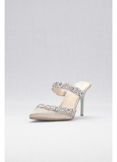 Crystal Embellished Pointed Toe Mules - Slide into these sleek satin mule heels from