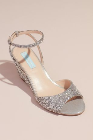 Blue By Betsey Johnson Grey Wedges (Allover Crystal Wedge Sandals with Ankle Strap)