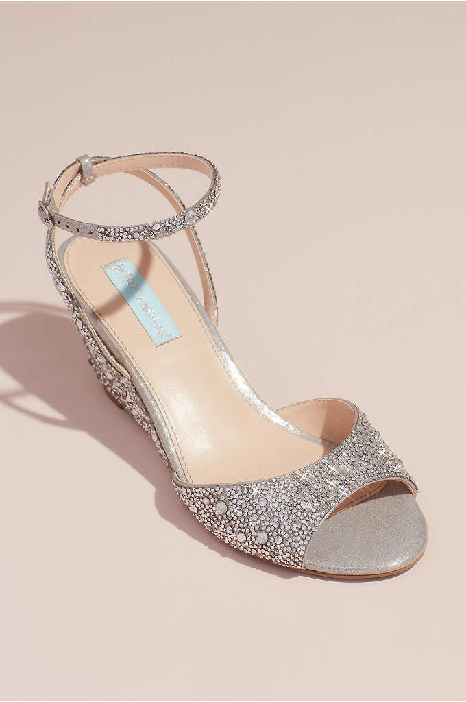 Allover Crystal Wedge Sandals with Ankle Strap