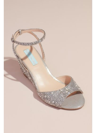 2a8ad2583e Blue By Betsey Johnson Grey (Allover Crystal Wedge Sandals with Ankle Strap)