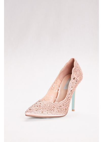 Blue By Betsey Johnson Grey (Laser-Cut Crystal Embellished Pointed Toe Pumps)