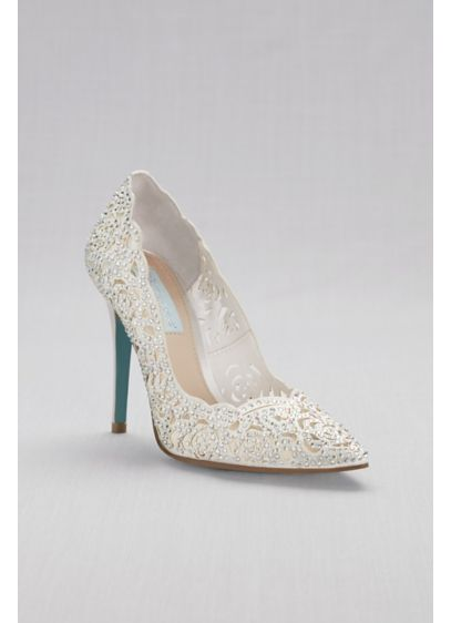 Blue By Betsey Johnson Grey (Laser-Cut Crystal Embellished Pointed Toe Pumps ) ad1cd63f2909