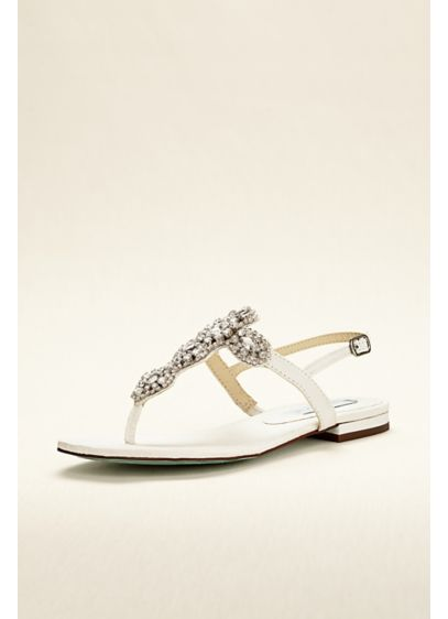 Flat Sandal with Crystal T-Strap - Wedding Accessories