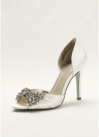 2403afc25e4a02 ... High Heel Peep Toe Pump. SBGOWN. Ivory Structured Blue By Betsey  Johnson Bridesmaid Dress