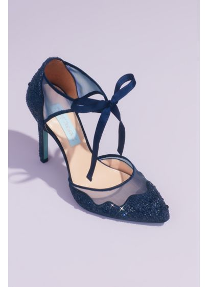 Blue By Betsey Johnson Blue (Crystal Embellished Tie Pumps with Illusion Mesh)