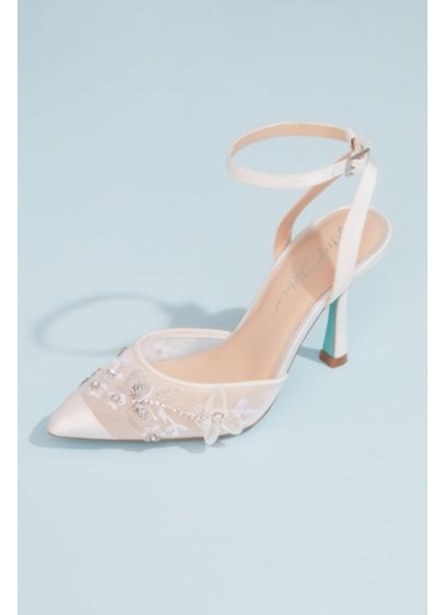 Blue By Betsey Johnson Ivory (Satin and Mesh Inkblot Heels with Floral Appliques)