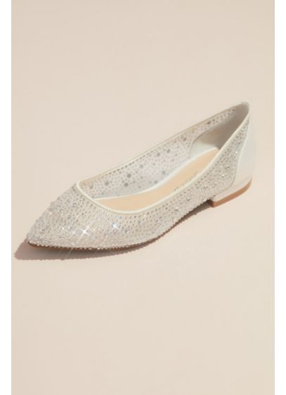 Crystal-Adorned Transparent Mesh Pointy Toe Flats - These flats are the epitome of fun with